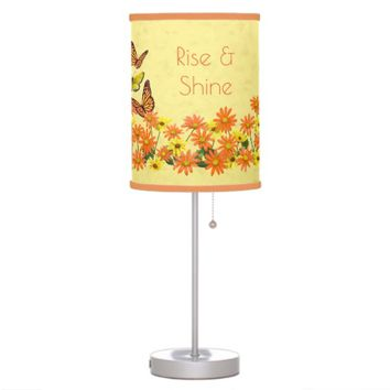 Pretty Butterflies & Daisy Garden Yellow Desk Lamp