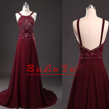 Maroon Beading Halter Straps Chiffon Long Prom dress/ Party dress/ Graduation dress/ Bridesmaid dress/ Pageant dress/ Banquet dress