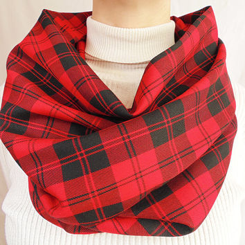 Red Plaid Infinity Scarf, Tartan Plaid, Spring Scarf, Womens Scarf, Mens Scarf, Oversize Scarf, Extra Long and Wide, Gift