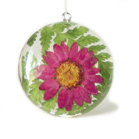 Flower Pendant - Real Flower Jewelry - Pink Flower Jewelry - Pink Flower Pendant - Necklace Charm - Flower Jewelry - Green Pendant