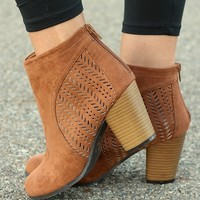 Clever Cut-Out Camel Zippered Bootie
