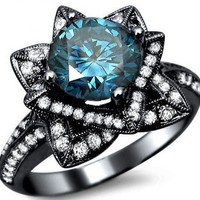 2.03ct Blue Round Diamond Lotus Flower Engagement Ring 14k Black Gold