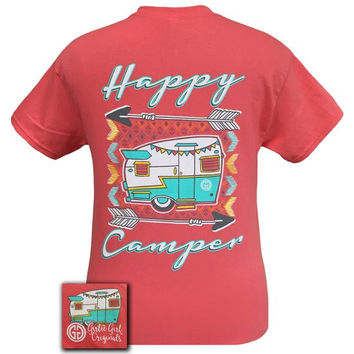 Girlie Girl Southern Originals Happy Camper Arrows Coral Silk T-Shirt