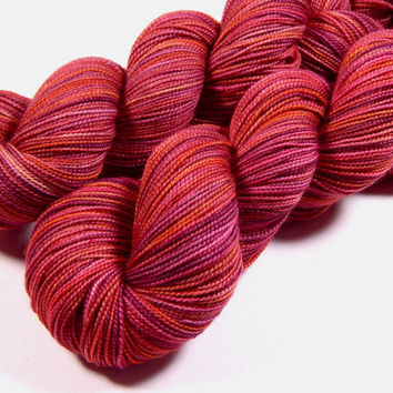 Hand Dyed Yarn - Sock Weight Superwash Merino Wool Yarn - Potluck Summer Fruits - Knitting Yarn, Sock Yarn, Superwash Yarn, Berry Yarn