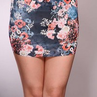 Navy Floral Print Stretchy Fit Stylish Skirt