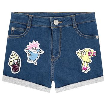 Kenzo Girls Stretch Jeans Shorts with Patches