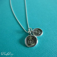 Navigators Wax Seal Charm Necklace - Compass and Anchor Wax Seal Pendants from Antique Wax Seal