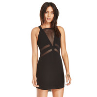 Black Strappy Mini Dress with Mesh V-front