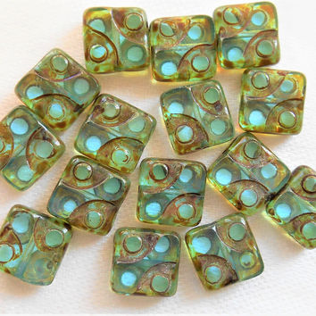 Lot of ten 10mm x 10mm rustic square transparent light aqua, blue green table cut, picasso Czech glass beads dotted dice beads c52101