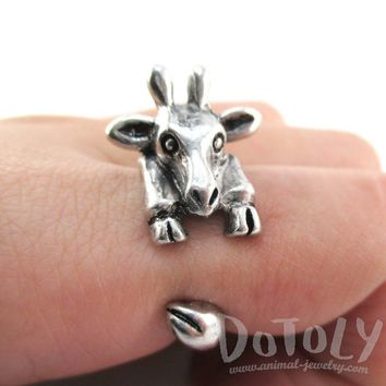 3D Miniature Giraffe Shaped Animal Wrap Ring in Silver | US Sizes 6 to 8