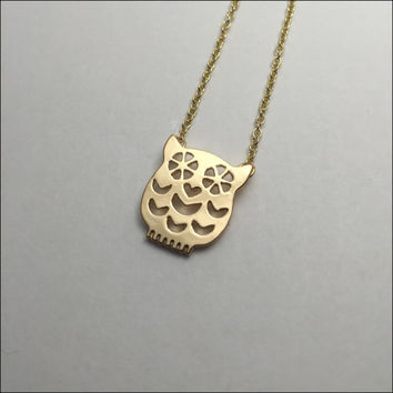 Owl Necklace Animal / Bird Jewelry Great Birthday Gift for Women and Girls Sweet Gold chain necklace Minimalist design Heart for nose