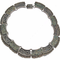 Mexican Sterling Turquoise Choker Collar Necklace