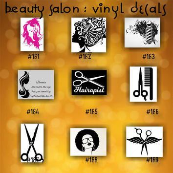 BEAUTY SALON vinyl decals - 181-189 - personalizable vinyl stickers - custom car window stickers - car decal - car sticker