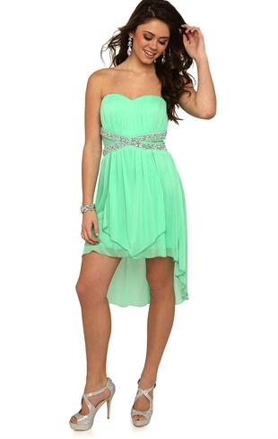 Strapless high low prom dress with criss from debprom com
