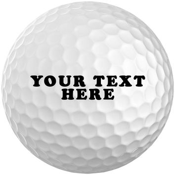 Personalized Golf Balls Box of 3 Custom Text or Logo Golf Balls