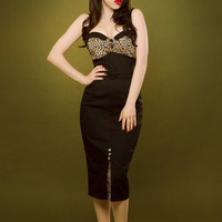 Pin up rockabilly leopard print black dress