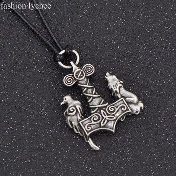 ESBONIS fashion lychee Norse Symbols Viking Odin Raven Hammer Mjolnir Wolf Crow Pendant Necklace Rope Chain Amulet Men Jewelry