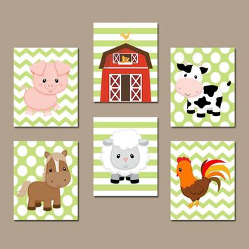 FARM Animals Wall Art, Canvas or Prints Country Baby Boy Nursery Decor, Cow Pig Barn Rooster Sheep Horse Western Boy Bedroom Set of 6