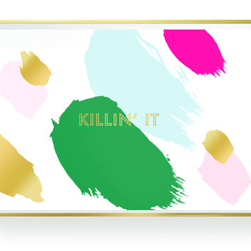 Killin' It Lacquered Tray with Gold Trim