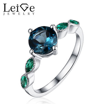 LEIGE JEWELRY LONDON BLUE TOPAZ RING WITH EMERALD SIDE STONES ROUND CUT STERLING SILVER RINGS FOR WOMEN ANNIVERSARY GIFT