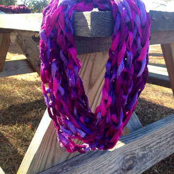 Plum Preserves Crocheted Infinity Chain Scarf, for Girls Teens Women