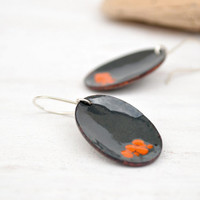 Statement enamel earrings - dark gray and orange - artisan jewelry -  sterling silver earwire - dangle handmade oval earrings by Alery