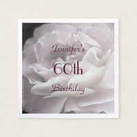 Pale Pink Rose Paper Napkins, 60th Birthday Party Paper Napkin
