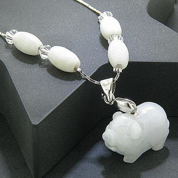Money Talisman Swarovski Elements Unique Jade Lucky Pig Necklace