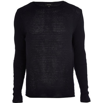 River Island MensNavy textured sweater
