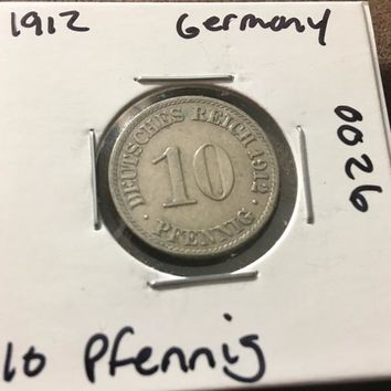 1912 German Empire 10 Pfennig Coin 0026