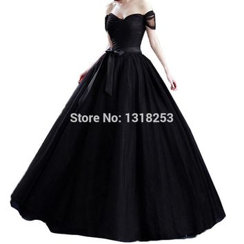 Tie Back Off Shoulder Tulle Evening Gowns Plus Size Bridal Princess Ball Gown Quinceanera Prom Womens Formal vestidos de festa