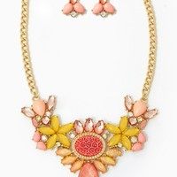 Rose Cluster Jewel Necklace Set | Jewelry | charming charlie
