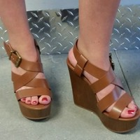 Platform Wedge Sandal - Dark Tan