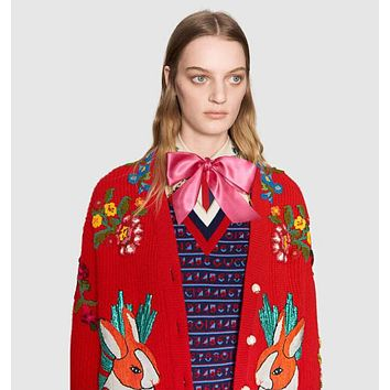 "Hot Sale ""GUCCI"" Popular Women Leisure Jacquard Embroidery Long Sleeve V Collar Knit Cardigan Jacket Coat Red"
