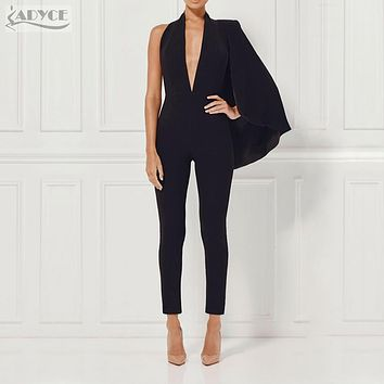 2017 summer Celebrity Runway Jumpsuit Black Deep V-Neck Halter half Batwing Sleeve Rompers Women Jumpsuit Sexy Bodycon Bodysuits