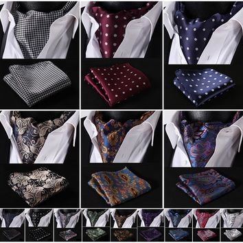 Party Classic Pocket Square Wedding Floral &Paisley & Plaid& Polka Dot Men Silk Cravat Ascot Tie Handkerchief Set #B2