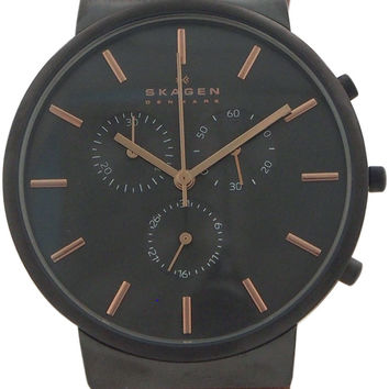 skagen - skw6106 stainless steel watch with brown leather