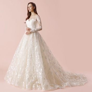 New Wedding Dresses Lace Ball Gown Long Sleeve