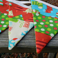 Green/Red/White/Blue Shabby Scrappy Patchwork Christmas Winter Holiday Bunting/Pennants/Party Home Tree Decoration House Tree Garland