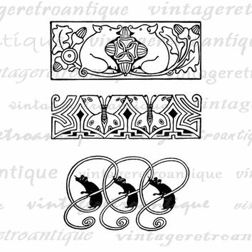 Digital Image Geometric Animal Ornaments Graphic Pig Butterfly Mouse Download Banner Printable Antique Clip Art  HQ 300dpi No.3858