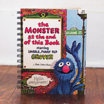 Sesame Street upcycled notebook Monster at End of the Book vintage book eco-friendly golden books