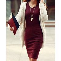 Simple Design V-Neck Long Sleeve Solid Color Bodycon Dress For Women