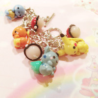 Pokemon First Gen Starter Charm Bracelet - Pikachu Bulbasaur Squirtle Charmander - Anime Geekery - Nintendo Video Game Jewelry