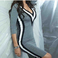 Grey Contrast Deep V-Neck Bodycon Mini Dress