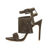 Grey suede tassel heels - shoes / boots - sale - women