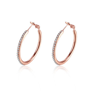 JASSY® Big Circle Crystal Hoop Earrings Gift Jewelry for Women