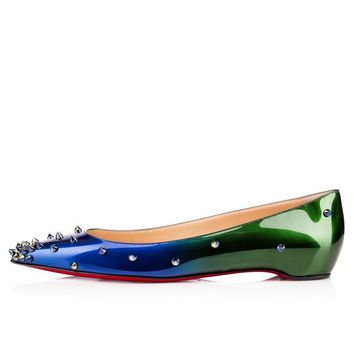 Posh Girl Green Ombre Studded Flat Shoes