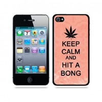 Keep Calm And Hit A Bong Coral Floral - Protective Designer BLACK Case - Fits Apple iPhone 4 / 4S / 4G