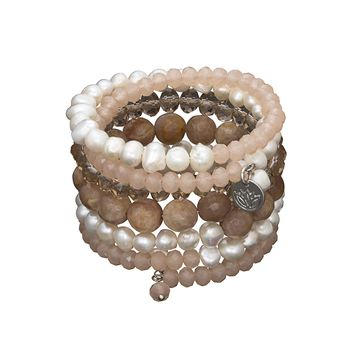 6 strand Rose Gold Pearl Crystal and Agate wrap bracelet