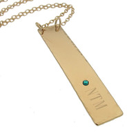 Personalized Vertical Tag Pendant / Gold Initials Bar Necklace / Gift for Her